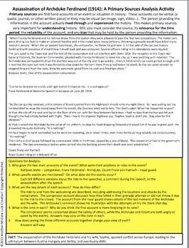 Assassination Archduke Franz Ferdinand WWI Primary Source Analysis Activity