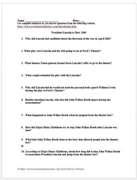 Assassination of Abraham Lincoln: Civil War Primary Source Worksheet