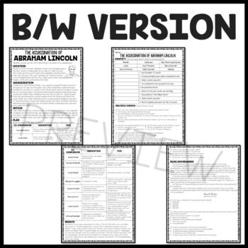 Assassination of Abraham Lincoln  Reading Comprehension Worksheet,  DBQ