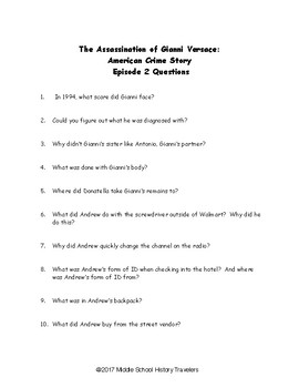 Assassination of Gianni Versace: American Crime Story Episode 2 Movie Questions