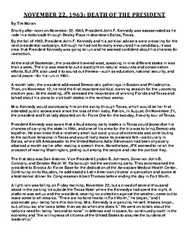 Assassination of JFK Article and Summary Assignment