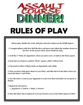 Assault Course Dinner - Cooking Board Game