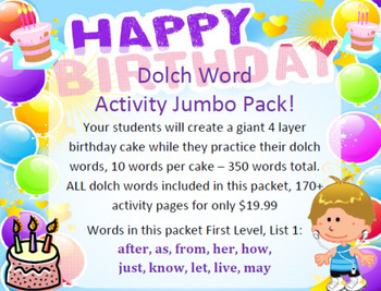 Assemble birthday cakes while learning dolch words - 170 pages of activities!