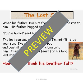 The Prodigal Son Parable, Religion Assembly Presentation Optional Playscript