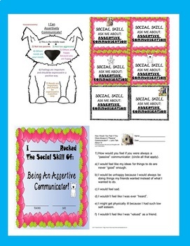 Assertive Communication Social Skill Rescue Dogs' Series Worksheets Autism/ELD