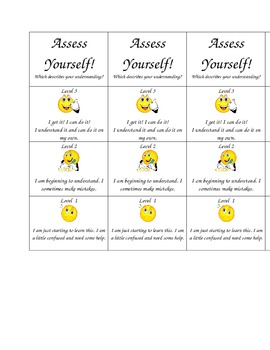 Assess Yourself Student Desk Chart
