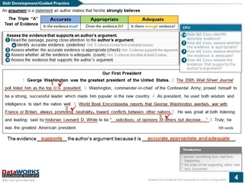 Assess the Evidence that Supports an Author's Argument