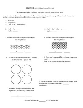 Assessements for 3rd Grade Common Core Math - Operations and Algebraic Thinking