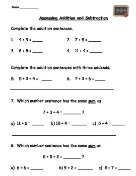Assessing Addition and Subtraction