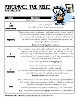 performance task examples for science
