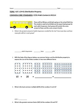 Assessment #2: GCF, LCM & Distributive Property