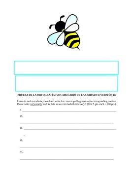 Assessment - All Levels: Spanish Spelling Quiz (with Bonus Definitions/Alphabet)