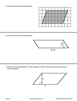 Assessment - Area Of Parallelograms