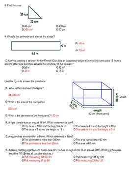 Assessment: Area, Perimeter, and Cubic Volume