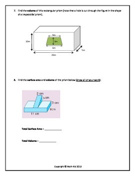 Assessment: Area and Volume