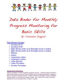 Assessment Binder:  Monthly Monitoring for Basic Skills