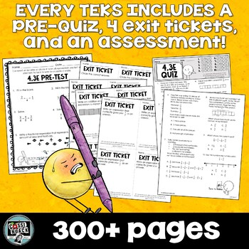 Assessment Bundle For 4th Grade Math Pre Quiz Exit Tickets Test WHOLE YEAR