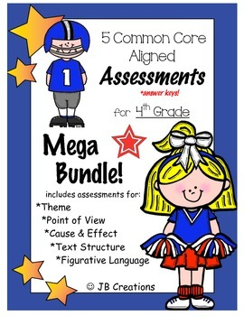 4th grade text structure, theme, pt of view, etc. Assessment Bundle