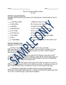 Assessment Bundle for the Novel Dear Mr. Henshaw by Beverly Cleary