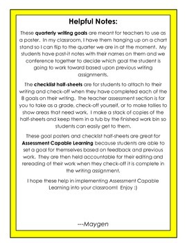 Assessment Capable Learners Quarterly Writing Goals for Second Grade