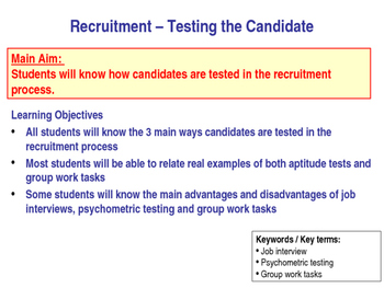 Assessment Centre - Fun Lesson on Recruitment - People in Business Group Task