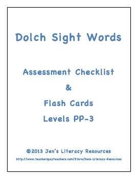 Assessment Checklist and Flash Cards for Dolch Sight Words