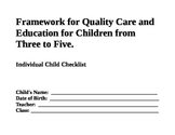 Assessment Checklist for 3 to 5 Years