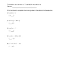 Assessment: Complete solutions to 2-variable equations