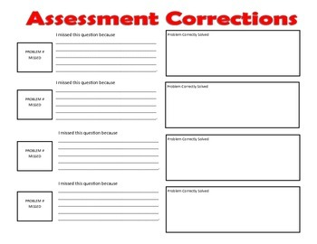 Assessment Corrections