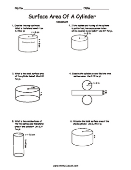 Assessment - Cylinders And Surface Area