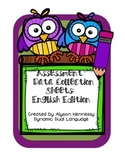 Assessment Data Collection Sheets-English Edition