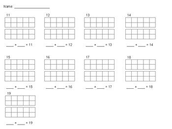 Assessment - Decompose Numbers 11-19