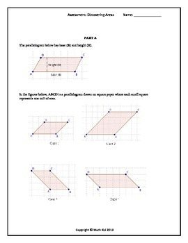 Assessment: Discovering the Area of Trapezoids and Parallelograms