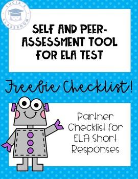 Assessment FREEBIE! Self or Peer Checklist for ELA Short Responses
