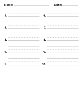 Assessment First Grade Sheets Spelling words, Dictations  6 pages