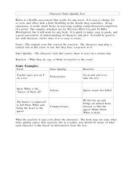 Assessment for Any Novel