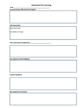 MFL Teaching Resources: Assessment For Learning: Self and Peer Assessment Sheet