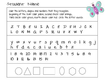 Assessment Freebie Shapes, Letters, Numbers, Sounds