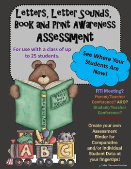 Assessment: Letters, Letter Sounds & Book and Print Awareness