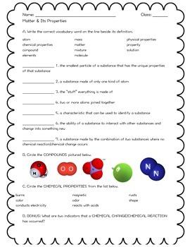 Assessment: Matter and Its Properties Review/Quiz