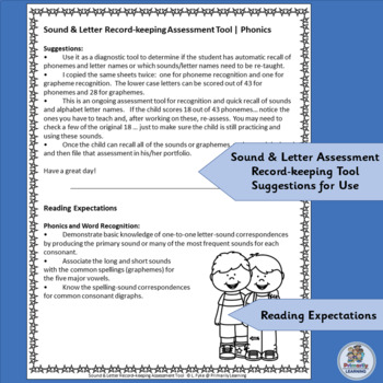 FREE! A great Sound & Letter record-keeping assessment tool!