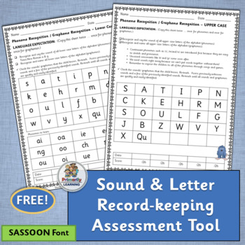 FREE! A great Sound & Letter record-keeping assessment tool! (SASSOON)