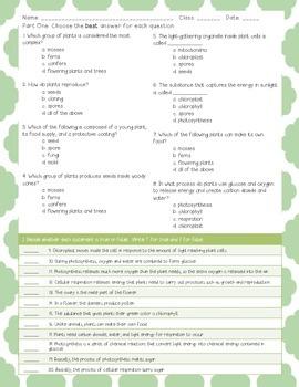 Assessment: Plants Quiz