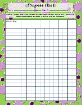 Assessment Progress Sheet