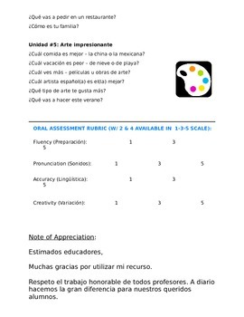 Assessment Reference:  30 Most Important Oral Questions for Spanish 3