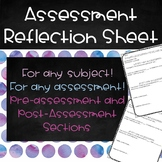 Assessment Reflection Sheet - Any Subject