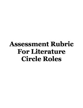 Assessment Rubric For Literature Circle Roles