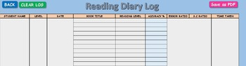 Assessment - Running Record Calculator and Automated Reading Diary Log Book