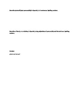 Assessment Sheet Verbo Ser