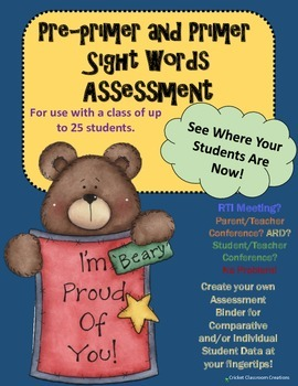Assessment: Sight Words - Pre-primer and Primer